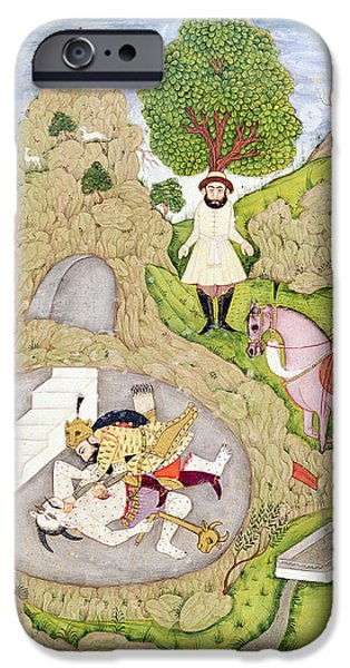 Epic iPhone Cases - Rustam Killing The White Demon, From The Shahnama Book Of Kings, By Abul-qasim Manur Firdawsi iPhone Case by Indian School