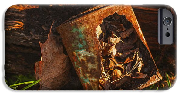 Shed Digital Art iPhone Cases - Rusted Can Of Leaves iPhone Case by Jack Zulli