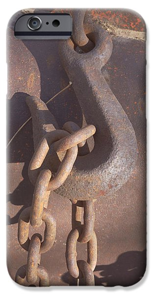 Rusted Hook and Chain iPhone Case by Ann Powell