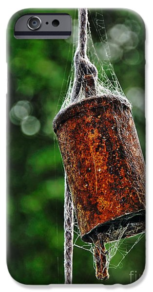 Metal Sheet iPhone Cases - Rusted Old Cowbell iPhone Case by Kaye Menner