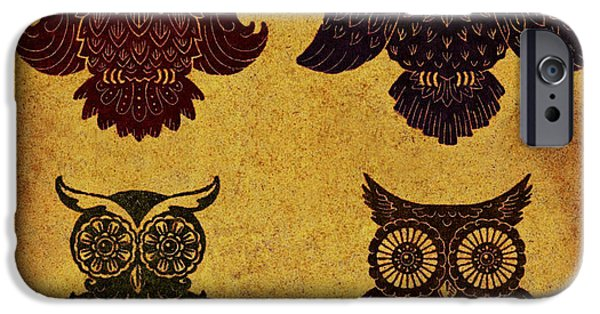 Lino Cut iPhone Cases - Rustic Aged 4 Owls iPhone Case by Kyle Wood