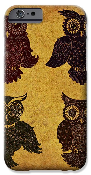 Rustic Aged 4 Owls iPhone Case by Kyle Wood