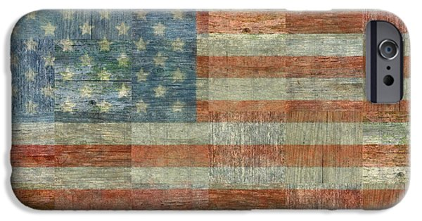 Red White And Blue Digital iPhone Cases - Rustic American Flag iPhone Case by Michelle Calkins