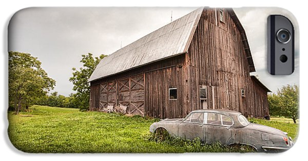 Old Barns iPhone Cases - Rustic Art - Old Car and Barn iPhone Case by Gary Heller