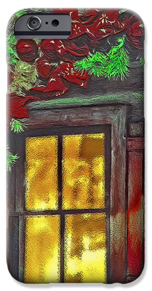 Cabin Window Mixed Media iPhone Cases - Rustic Christmas Window iPhone Case by Steve Ohlsen