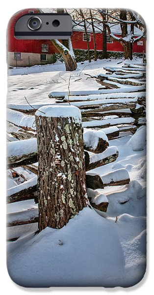 Rustic fence to Maple Hill Farm - Roxbury Ct iPhone Case by Thomas Schoeller