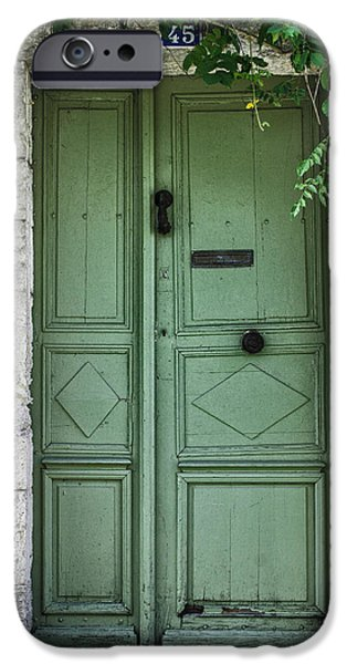 Rustic green door with vines iPhone Case by Georgia Fowler