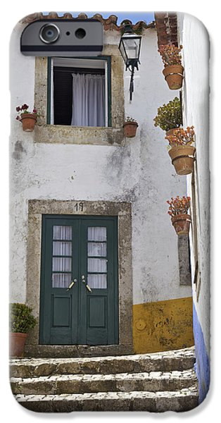 Nineteen iPhone Cases - Rustic Green Wood Door of the Medieval Walled Village of Obidos iPhone Case by David Letts