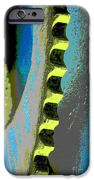 Gear Mixed Media iPhone Cases - Rustic Industrial Gear in Blue Pop iPhone Case by ArtyZen Studios - ArtyZen Home