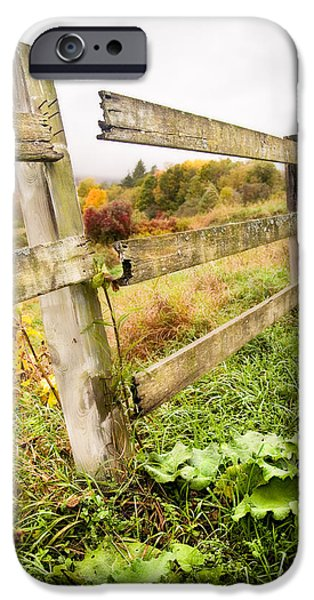 Rural Decay Digital Art iPhone Cases - Rustic Landscapes - Broken fence iPhone Case by Gary Heller