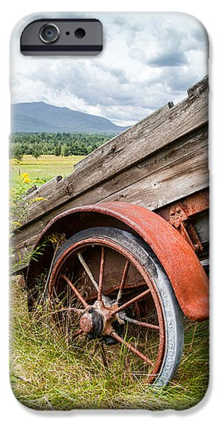 Rustic Landscapes - Wagon and wildflowers iPhone Case by Gary Heller