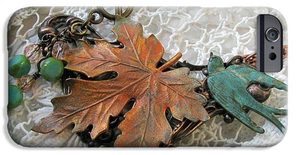 Fauna Jewelry iPhone Cases - Rustic Leaf and Bird Necklace iPhone Case by Cates Boutik