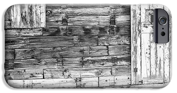 Old Barn Print Photographs iPhone Cases - Rustic Old Colorado Barn Door and Window BW iPhone Case by James BO  Insogna