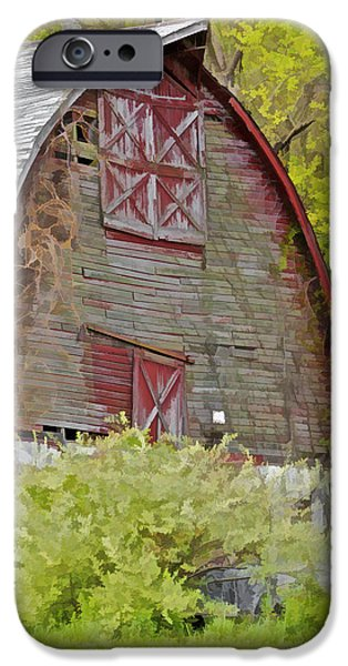 Old Barn Photo Photographs iPhone Cases - Rustic Red Barn II iPhone Case by David Letts