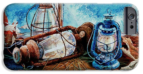 Hurricane Lamp iPhone Cases - Rustic Relics iPhone Case by Hanne Lore Koehler