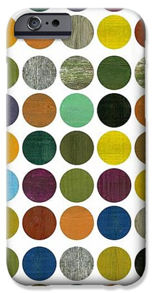 Colorful Abstract iPhone Cases - Rustic Rounds 75 Number One iPhone Case by Michelle Calkins