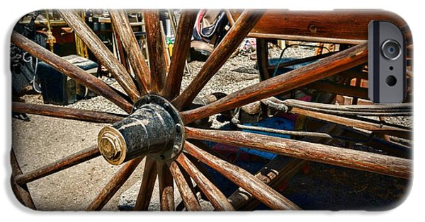 Wooden Wagons iPhone Cases - Rustic Wagon Wheel iPhone Case by Paul Ward
