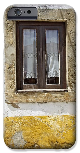 Rustic Window of Medieval Obidos iPhone Case by David Letts