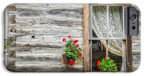 Log Cabin Art iPhone Cases - Rustic Window iPhone Case by Paul Freidlund