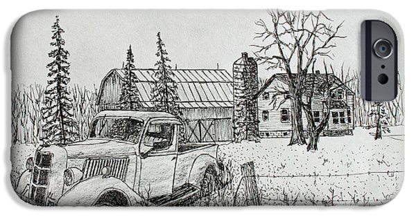 Old Barn Drawing iPhone Cases - Rusting Away iPhone Case by Jack G  Brauer