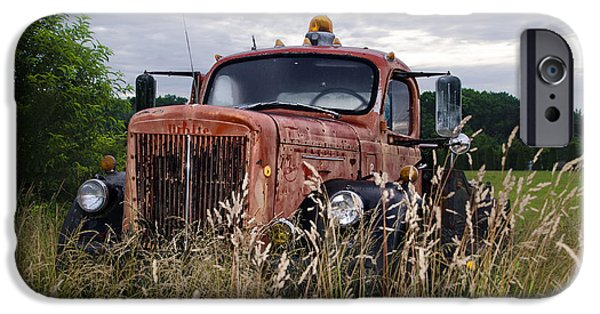 Tow Truck iPhone Cases - Rusting in a Field iPhone Case by Bill Cannon