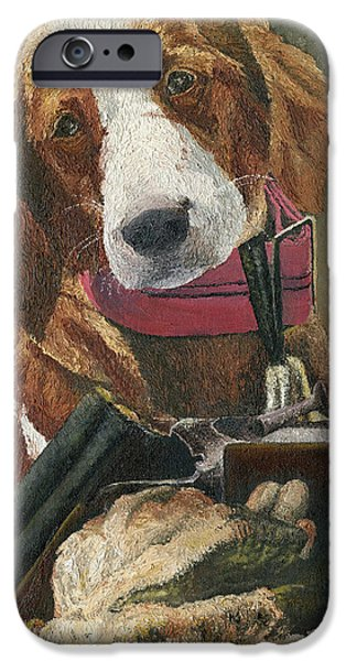 Rusty - A Hunting Dog iPhone Case by Mary Ellen Anderson