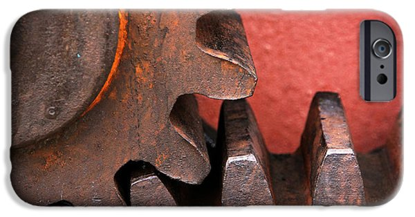 Industry iPhone Cases - Rusty And Metallic Gear Wheel iPhone Case by Mikel Martinez de Osaba