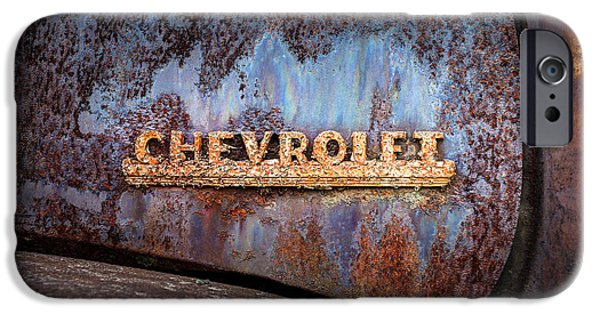 Rusted Cars iPhone Cases - Rusty Chevrolet - Nameplate - Old Chevy Sign iPhone Case by Gary Heller