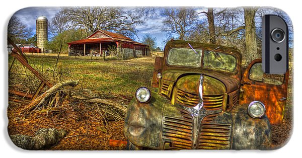 Old Barn iPhone Cases - Rusty Dodge Dump Truck Country Resting Place iPhone Case by Reid Callaway