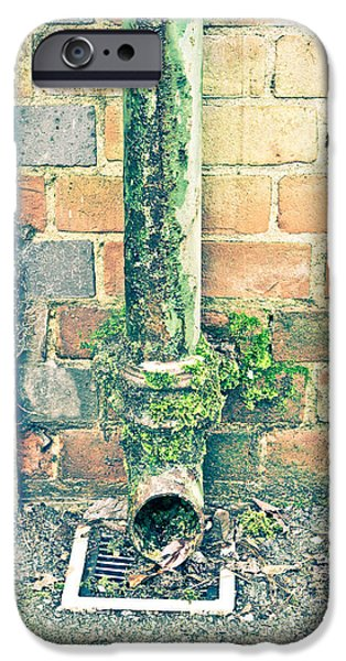 Lichens iPhone Cases - Rusty drainpipe iPhone Case by Tom Gowanlock