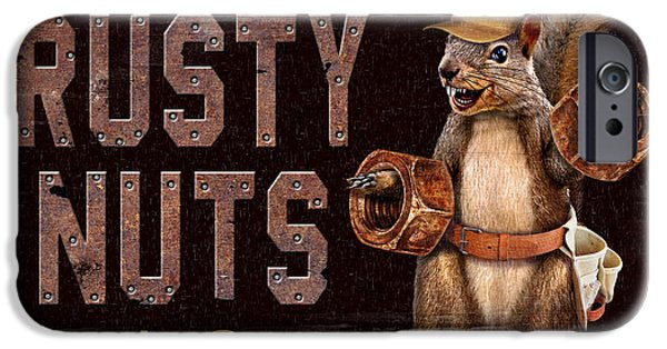 Man Cave Paintings iPhone Cases - Rusty Nuts iPhone Case by JQ Licensing