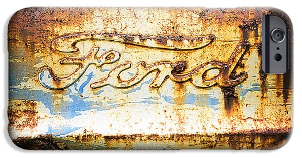 Rust Photographs iPhone Cases - Rusty Old Ford Closeup iPhone Case by Edward Fielding