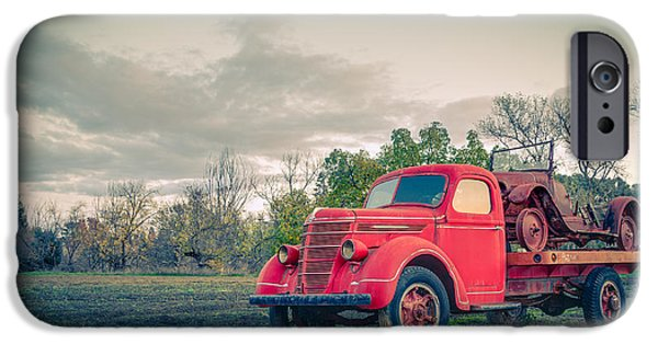 Rust Photographs iPhone Cases - Rusty Old Red Pickup Truck iPhone Case by Sarit Sotangkur