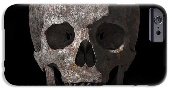 Jaws iPhone Cases - Rusty old skull iPhone Case by Vitaliy Gladkiy