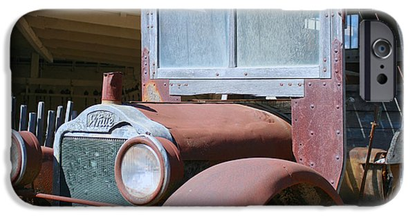 Rust Pyrography iPhone Cases - Rusty Old White Truck iPhone Case by DUG Harpster