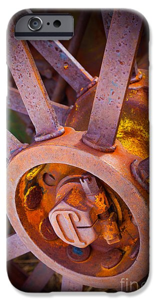 Rust iPhone Cases - Rusty Spokes iPhone Case by Inge Johnsson