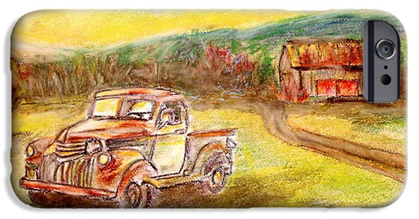 Rust Pastels iPhone Cases - Rusty Truck iPhone Case by Teresa Johnson