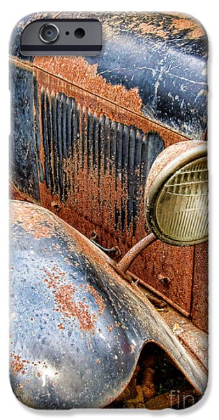 Twenties iPhone Cases - Rusty Vintage Automobile iPhone Case by Olivier Le Queinec