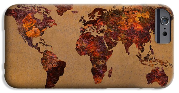 Rusty iPhone Cases - Rusty Vintage World Map on Old Metal Sheet Wall iPhone Case by Design Turnpike