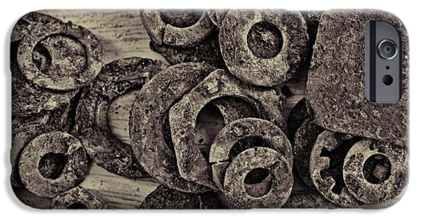 Industry iPhone Cases - Rusty washers - Square grunge iPhone Case by Debbie Portwood
