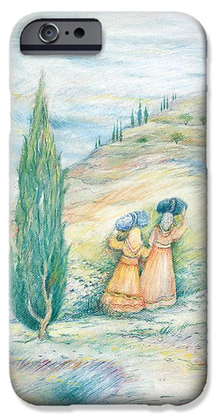 Ancient Paintings iPhone Cases - Ruth and Naomi iPhone Case by Michoel Muchnik