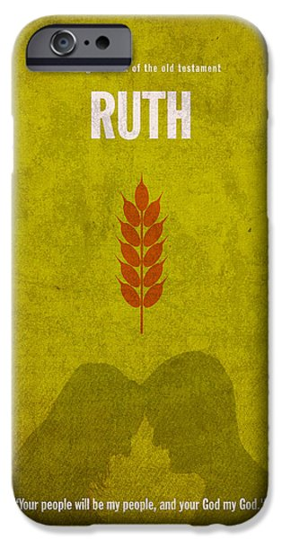 Bible Mixed Media iPhone Cases - Ruth Books of the Bible Series Old Testament Minimal Poster Art Number 8 iPhone Case by Design Turnpike