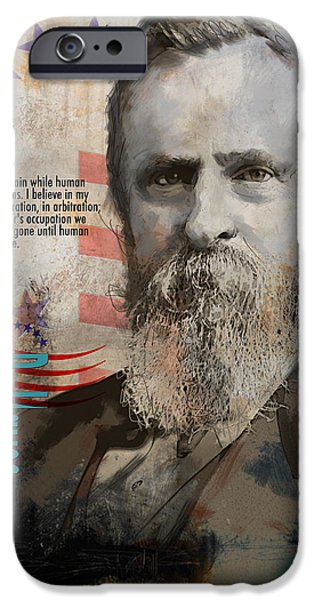 Thomas Jefferson Paintings iPhone Cases - Rutherford B. Hayes iPhone Case by Corporate Art Task Force