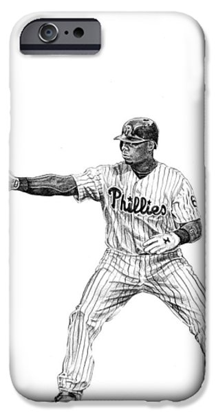 Philadelphia Phillies Drawings iPhone Cases - Ryan Howard iPhone Case by Joshua Sooter