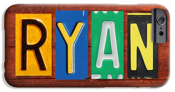 Signed Mixed Media iPhone Cases - RYAN License Plate Name Sign Fun Kid Room Decor. iPhone Case by Design Turnpike