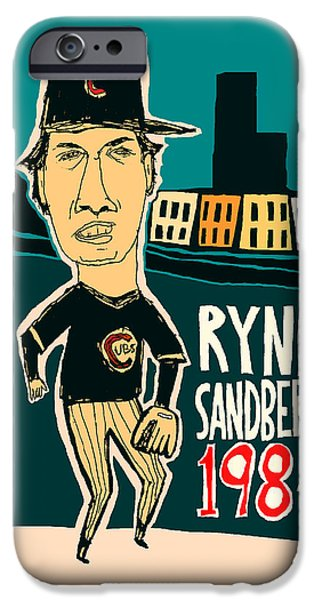 Chicago Cubs Mixed Media iPhone Cases - Ryne Sandberg Chicago Cubs iPhone Case by Jay Perkins