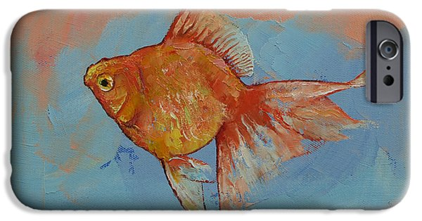 Michael Paintings iPhone Cases - Ryukin Goldfish iPhone Case by Michael Creese