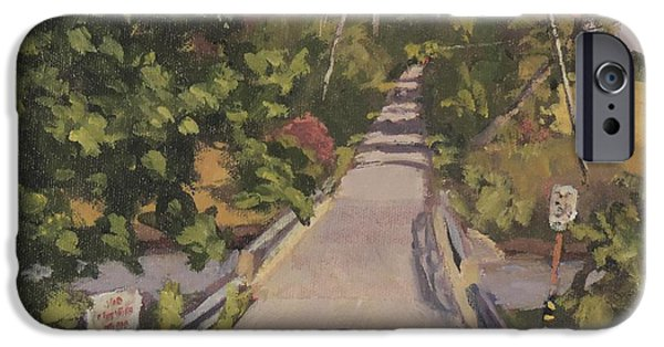 Maine Roads Paintings iPhone Cases - S. Dyer Neck Rd. iPhone Case by Bill Tomsa