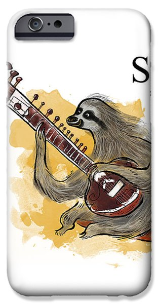 Sloth iPhone Cases - S is for Sloth iPhone Case by Sean Hagan