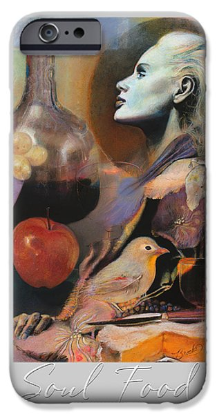 Spiritual Portrait Of Woman iPhone Cases - S o u l  F o o d iPhone Case by Brooks Garten Hauschild
